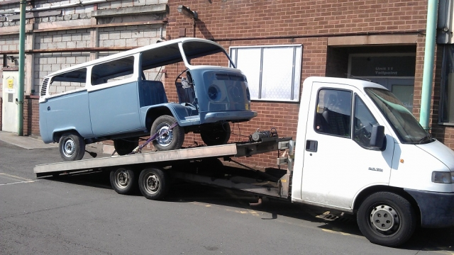 The van arrived back from the paint shop