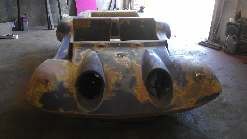Removed the old paint ready to repair fibreglass